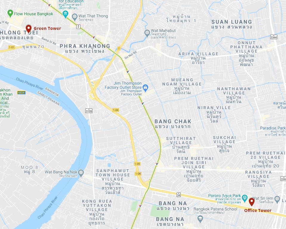 Map of the two business centers in Bangkok of ATA Services